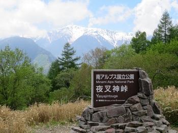 夜叉神峠の碑と南アルプス.JPG